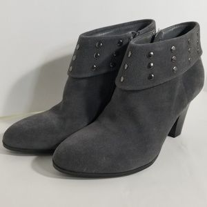 Gray Suede Studded Ankle Booties sz 6.5